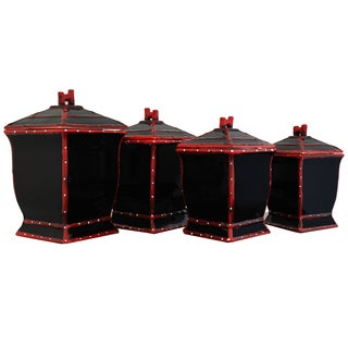 Country French Hand-painted 4-piece Black Square Canister Set