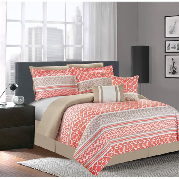 Central Park Coral 7-piece Comforter Set - Free Shipping ...
