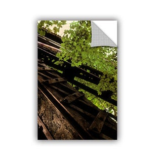 ArtWall Kevin Calkins ' Train Trestle In The Woods' Artappealz Removable Wall Art