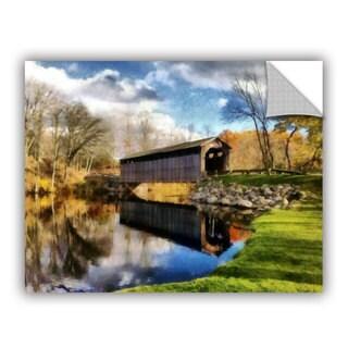 ArtWall Kevin Calkins ' Covered Bridge Reflections' Artappealz Removable Wall Art