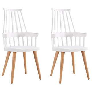 American Atelier Design Guild High Backed Chair with Wooden Legs (Set of 2)
