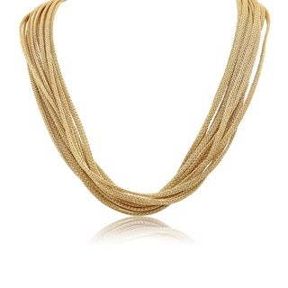 Gioelli Yellow Goldplated Italian Multi-strand Mesh Necklace