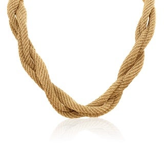 Gioelli Yellow Goldplated Italian Twisted Mesh Necklace