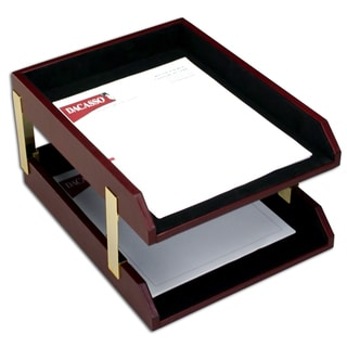 Two-tone Leather Double Letter Tray Set