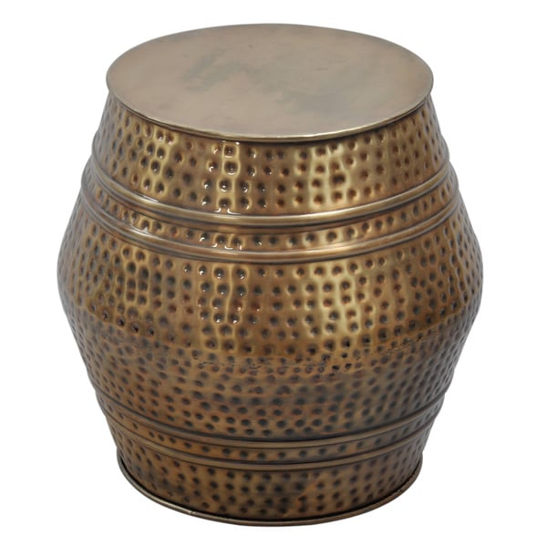 Hammered Metal Coffee Table Moroccan Anti-gold Hammered Stool - Free Shipping Today - Overstock ...