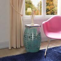 Artisan Aqua Garden Stool/ Side Table