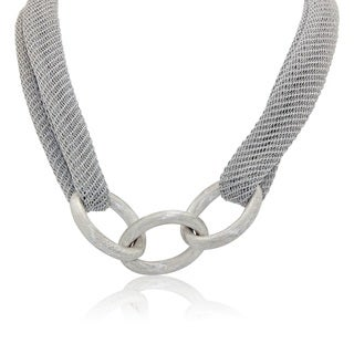 Gioelli Silverplated Italian Centered Oval Satin Link Mesh Necklace