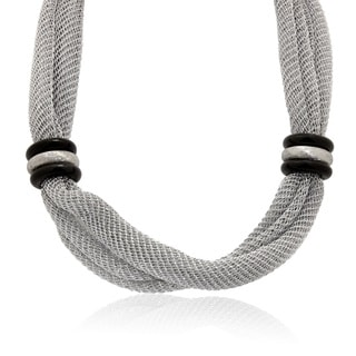 Gioelli Silverplated Two-tone Italian Station Mesh Necklace