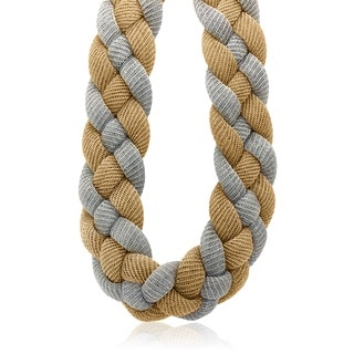 Gioelli Yellow Goldplated Two-tone Italian Thick Braided Mesh Necklace