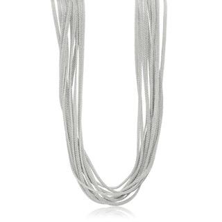 Gioelli Silverplated Italian Multi-strand Mesh Toggle Necklace