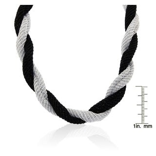 Gioelli Silverplated Two-tone Italian Twisted Mesh Necklace
