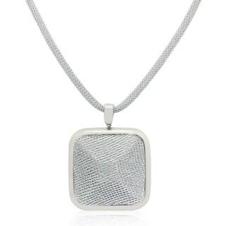 Gioelli Silverplated Italian Square Puff Mesh Necklace