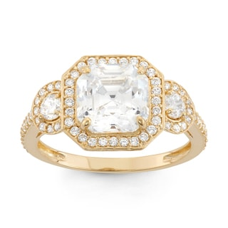 Gioelli 10k Yellow Gold Asscher-cut Cubic Zirconia Ring