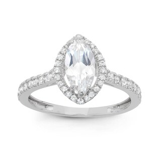 Gioelli 10k White Gold Marquise Cubic Zirconia Ring