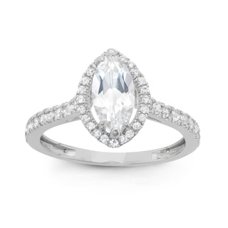 Gioelli Sterling Silver Marquise Created White Sapphire Ring
