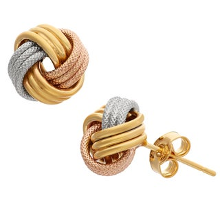 Gioelli 10k Tri-color Gold Textured Love Knot Earrings