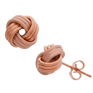 Gioelli 10k Rose Gold Textured Love Knot Earrings