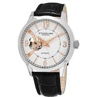 Stuhrling Original Men's Classique Skeletonized Automatic Leather Strap Watch - black