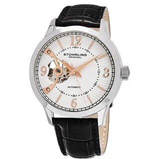 Stuhrling Original Men's Classique Skeletonized Automatic Leather Strap Watch - black