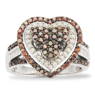 Sterling Silver 1.00ct TDW Red & White Diamond Heart Frame Ring (HI-I2-I3)