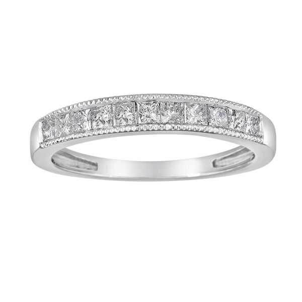 14k White Gold 1/2ct TDW Diamond Milligrain Wedding Band (G-H, I1-I2)
