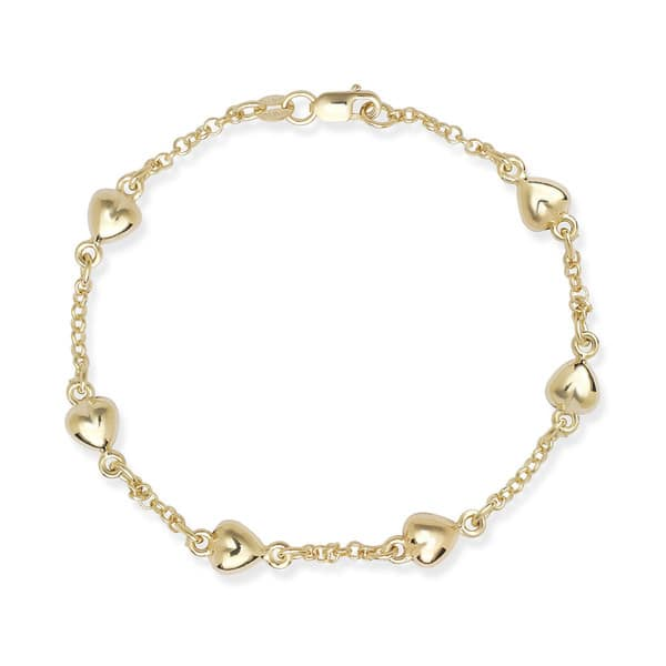 """14K 6/"""" Yellow Gold Rolo Cable Link+1 Puffed Drop Heart ID Bracelet 2 grams 3mm"""