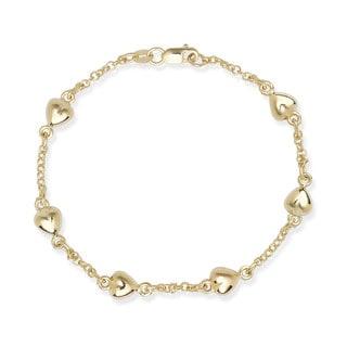 14k Gold Puffed Heart Stations 7-inch Rolo Bracelet