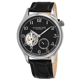 Stuhrling Original Men's Classique Mechanical Leather Strap Watch - black
