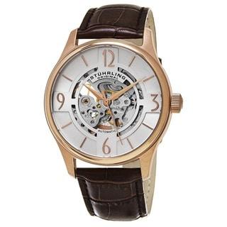 Stuhrling Original Men's Delphi Skeletonized Automatic Leather Strap Watch