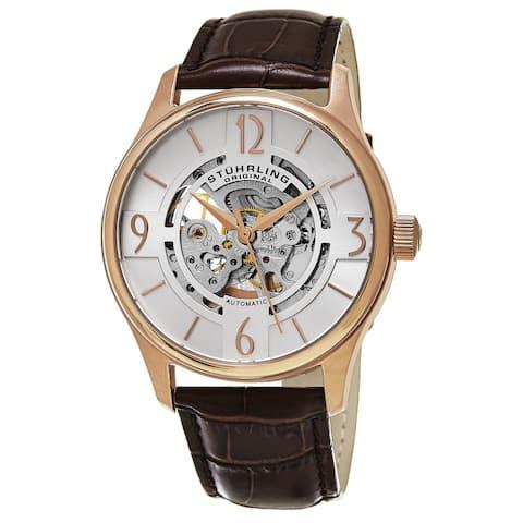 Stuhrling Original Men's Delphi Skeletonized Automatic Leather Strap Watch - brown