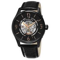 Stuhrling Original Men's Delphi Skeletonized Automatic Leather Strap Watch - Black