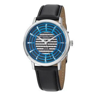 Stuhrling Original Men's Colosseum Swiss Quartz Leather Strap Watch - black
