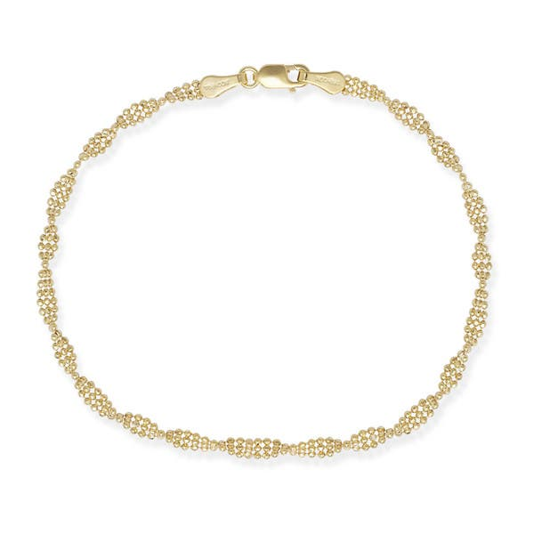 ad96e5d133f11c Shop 14k Gold Twisted Bead 7-inch Bracelet - On Sale - Free Shipping Today  - Overstock - 10230335