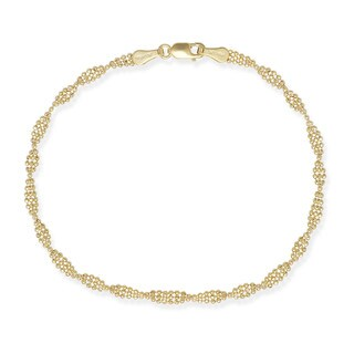 14k Gold Twisted Bead 7-inch Bracelet
