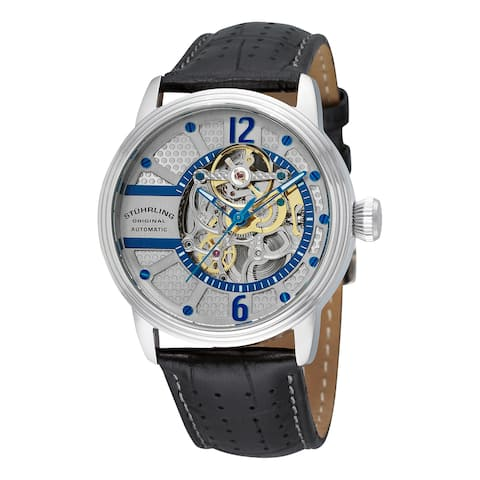 Stuhrling Original Men's Prospero Classic Skeletonized Automatic Leather Strap Watch