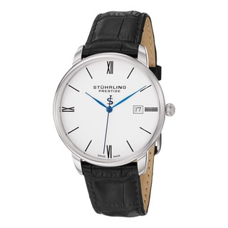 Stuhrling Original Men's Kingston Swiss Quartz Leather Strap Watch