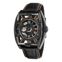 Stuhrling Original Men's Millennia Expo Skeletonized Automatic Leather Strap Watch - black
