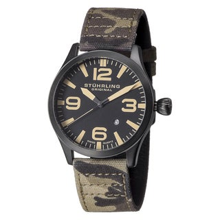 Stuhrling Original Men's Aviator Swiss Quartz Canvas Strap Watch - brown
