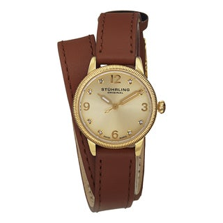 Stuhrling Original Women's Vogue Swiss Quartz Austrian Crystal Leather Strap Watch - GOLD