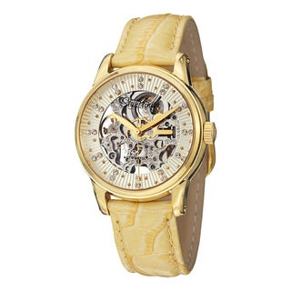 Stuhrling Original Women's Stella Automatic Austrian Crystal Leather Strap Watch - GOLD