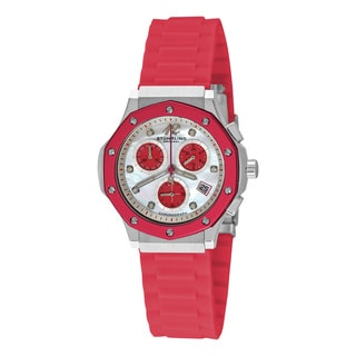 Stuhrling Original Women's Cosmo Girl Quartz Chronograph Austrian Crystal Rubber Strap Watch