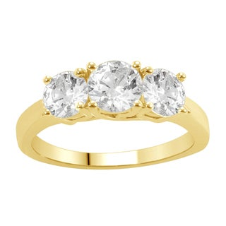 Divina 14k Yellow Gold 2ct TDW Diamond 3-stone Anniversary Ring
