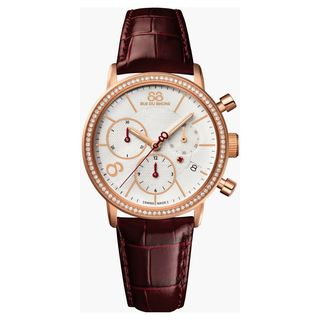 Rue Du Rhone Women's 87WA140035 'Double 8' Chronograph Diamond Brown Leather Watch