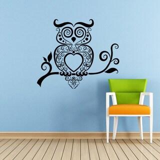 Swirly Owl Vinyl Sticker Wall Art