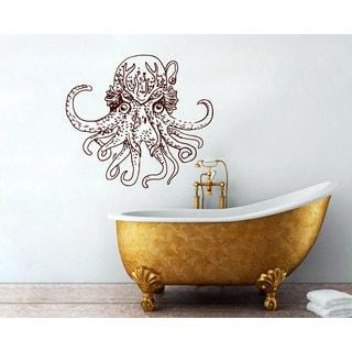 Burgundy Octopus Sprut Kraken Vinyl Sticker Wall Art