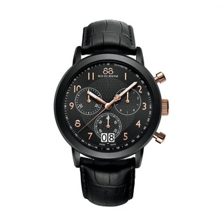 Rue Du Rhone Men's 87WA130023 'Double 8' Chronograph Black Leather Watch