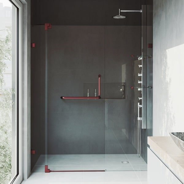 Shop VIGO Pirouette 54-inch Pivot Shower Door Clear/Oil Rubbed ...