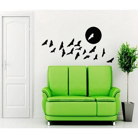 Bats Moon Night Vinyl Sticker Wall Art