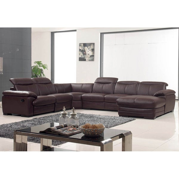 Luca Home Brown Leather Sectional  sc 1 st  Overstock.com : brown leather sectionals - Sectionals, Sofas & Couches