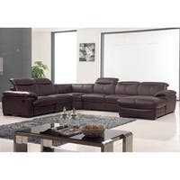 Luca Home Brown Leather Sectional